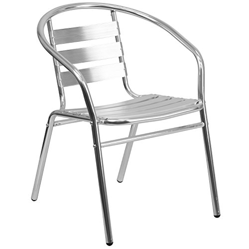 Flash Furniture Commercial Aluminum Indoor-Outdoor Restaurant Stack Chair with Triple Slat Back and - Back Pub Chair Slat