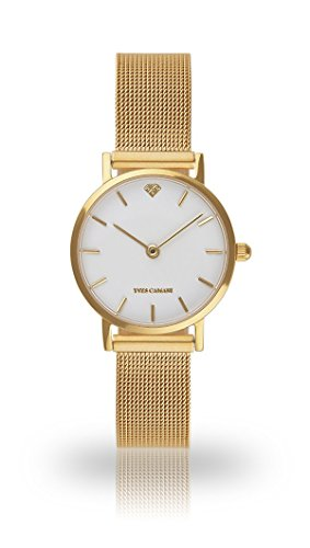 YVES CAMANI Léa Women's Wrist Watch Quartz Analog Gold Mesh Milanaise Leather Strap White Dial YC1098-B-701