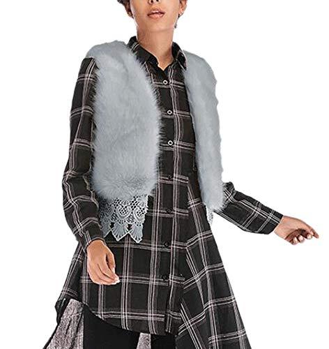 Hiver Elégante Unicolore Gris Gilet Chic Vest Synthétique Jacken Courte Fourrure Vintage Automne De Femme Sleeveless Fashion I1I4CqAw
