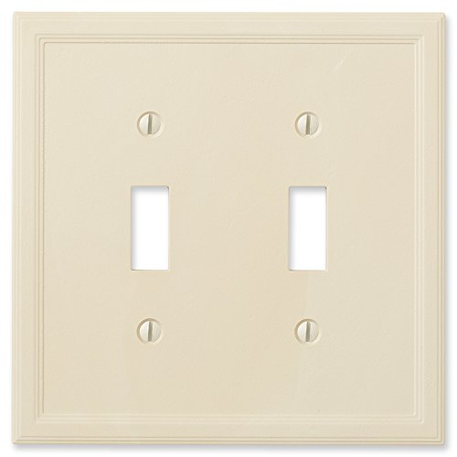 Questech Ivory Insulated Wall Plate/Switch Plate/Outlet Cover (Double Toggle) (Ivory Toggle Plate)