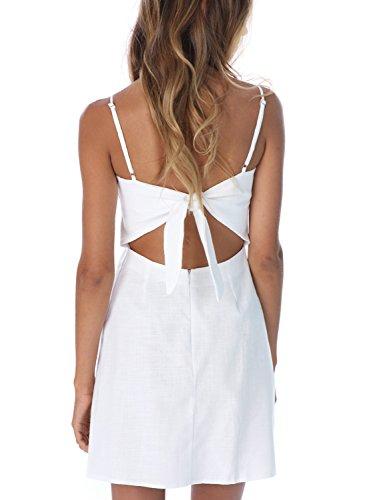 BerryGo Women's Sexy Cut Out Back Bow Spaghetti Strap Bodycon Mini Dress White ()