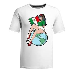 Custom Mens Cotton Short Sleeve Round Neck T-shirt,2014 Brazil FIFA World Cup Soccer Girls white