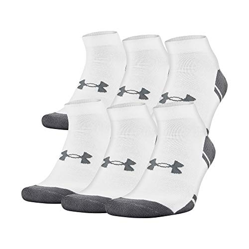 Under Armour Adult Resistor 3.0 Lo Cut Socks, 6 Pairs, White/Graphite, Shoe Size: Mens 12-16