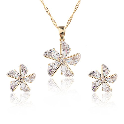 Bishun Jewelry Hawaiian Plumeria Flower White Zircon Stud Earrings for Wedding/Party/Daily (windmill set) (Hawaiian Jewelry Gold)