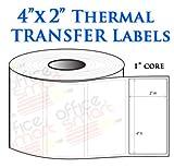 4x2 Thermal Heat Tranfer Labels for Zebra GC420t GK420t GX420t TLP2442 TLP2844 Wax Resin Ribbon Barcode Printer - 20 Rolls