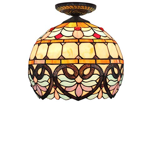 ChuanHan Tiffany Style Ceiling Light/Lamp, 12 inch European Style Creative Stained Glass Ceiling Light/Lamp, Baroque Ceiling Spotlights for Bedchamber Hallway, E27, Max40W