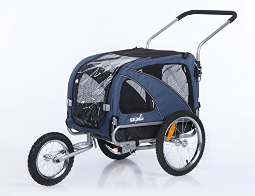 Sepnine 2 in1 Medium pet Dog Bike Trailer Bicycle Carrier and Stroller Jogger 10201 (Blue)