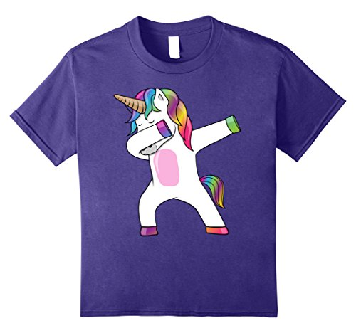 Kids Dabbing Unicorn T-Shirt - Dab Dance Rainbow Unicorn Shirt 8 Purple (Dance Girls T-shirt)