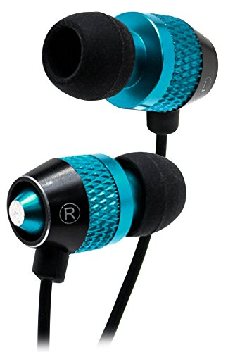 Bastex Universal Earphone/Ear Buds 3.5mm Stereo Headphones In-Ear Tangle Free Cable with Built-In Microphone Earbuds For iPhone iPod iPad Samsung Android Mp3 Mp4 and more-Blue/ Black