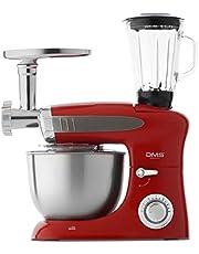 DMS 3-in-1 keukenmachine roermachine 6,5 liter kneedmachine roestvrijstalen kom spatbescherming standmixer Ice Crusher vleesmolen deegkneder 6-traps snelheid 1900 Watt zwart KMFB-1900 (rood)