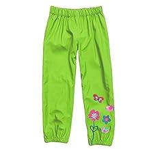 MingAo Girls Rain Pants Flower Waterproof Warm Outdoors 1-5 Years