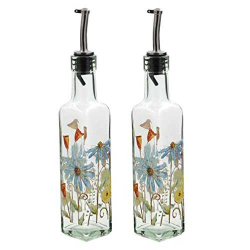 8 OZ Glass Gourmet Oil Bottle with Lever Release Pourer,Set of 2