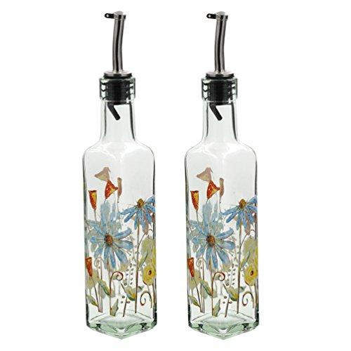 Oil Bottle Gourmet (8 OZ Glass Gourmet Oil Bottle with Lever Release Pourer,Set of 2)