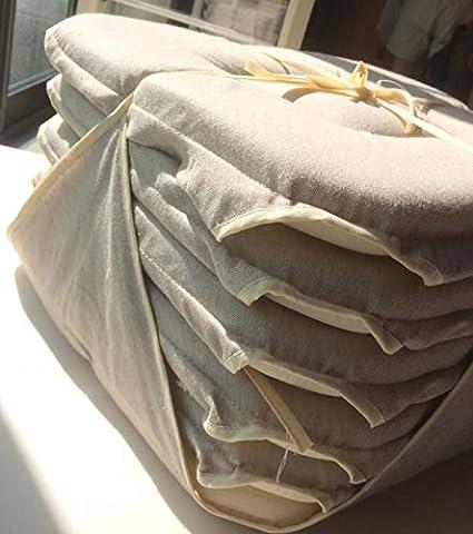in lino Set di 6 cuscini per sedia Alpes Blanc