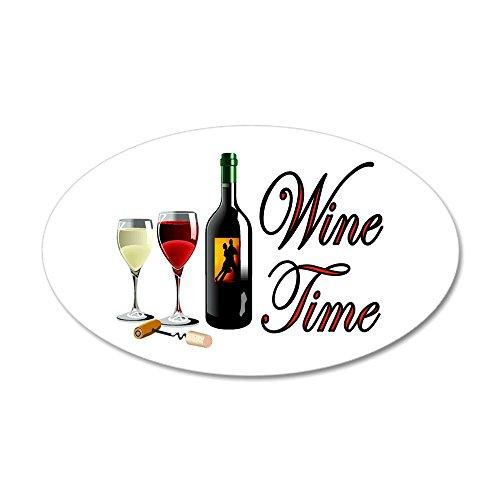 (CafePress - Wine Oclock 22x14 Oval Wall Peel - 20x12 Oval Wall Decal, Vinyl Wall Peel, Reusable Wall Cling)