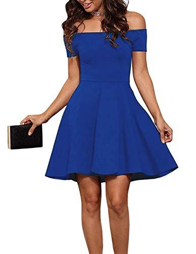 - EZBELLE Womens Summer Short Dress Off Shoulder Formal Cocktail Dress Royal Blue X-Large