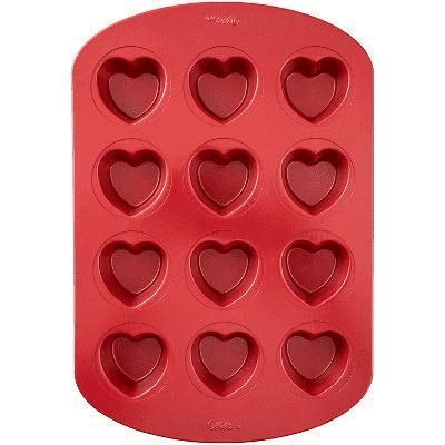 Wilton 12 Cavity Mini Heart Cupcake Pan Red (RedMini Heart Pan)