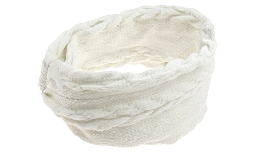 "Boho-Chic Vacation & Fall Looks - Standard & Plus Size Styless - Capelli New York 5"" Wide Tubular Cable Knitted Twisted Head Wrap Ivory One Size"