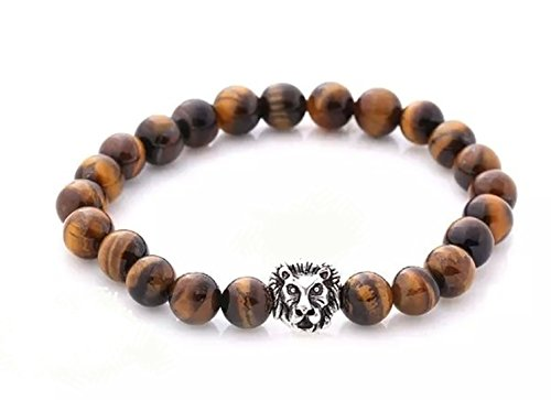 Top Choice Gold Leopard Head Gold Tiger Eye Bead Buddha Natural Agate Stone Bracelet for Men Fashion Jewelry Bracelets & Bangles (Brown Tiger Eye) - Gold Brown Tigers