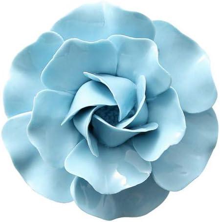 Insiswiner Ceramic Decorative Flowers 3D Wall Hanging Decor Blue Camellia 3.15″