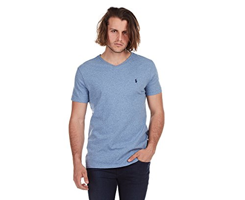 Polo Ralph Lauren Men's Classic Fit V-Neck T-Shirt (Large, BLUE Ocean Heather) - Classic Fit Tee