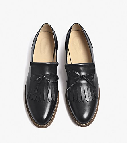 Black Fringed Tassels Solid Color Flats Leather Honeystore Shoes Women's H8BvRxt