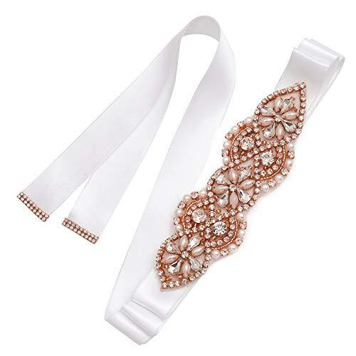 Yanstar Rose Gold Rhinestone Crystal Pearl BeadsWedding Bridal Belt Sash With White Ribbon Sash For Prom Gown