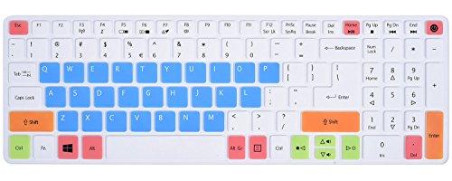 Keyboard Skin for Acer Aspire E 15 E5-575 E5-576G E5-574G E5-573G ES15 ES1-572 / Aspire E 17 E5-772G / Aspire V15 V17 VN7-592G VN7-792G F15 F5-571 F5-573G / Aspire 3 A315 / Aspire 7 A715, Candy Blue