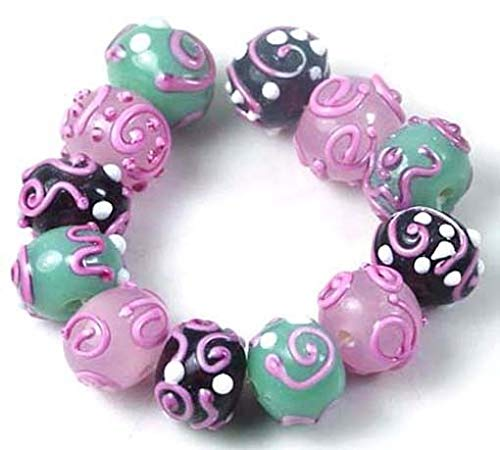 Lampwork Glass Pink Swirl Rondelle Beads (12), Beading, Jewelry Making, DIY Crafting, Arts & Sewing by Perfect Beeds Store ()