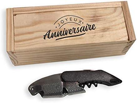 Mabouteille – Estuche de madera sacacorchos Limonadier, abrebotellas y cortador de cápsulas – 3 usos doble palanca – Personalizables