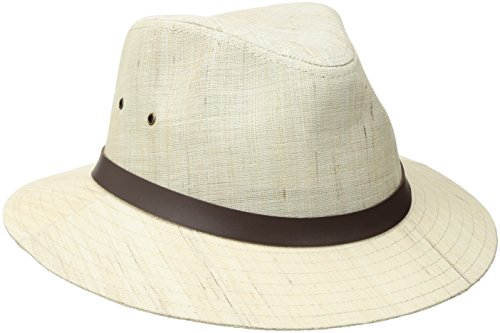 Henschel Hand Woven Linen Safari with Leather Band, Natural, X-Large