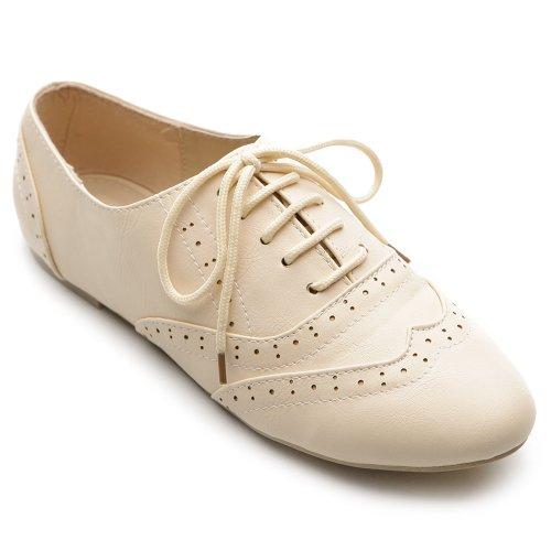 Ollio Women's Shoe Classics Lace Up Dress Low Flat Heel Multi Colored Oxford (8, Beige)