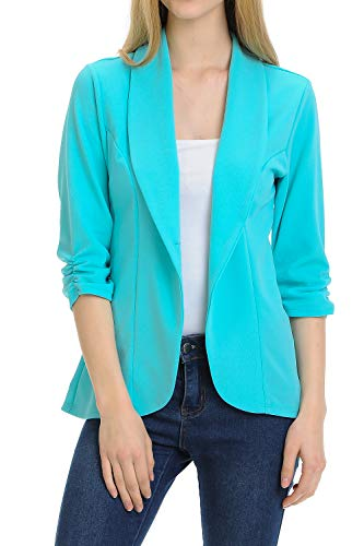 (MINEFREE Women's 3/4 Ruched Sleeve Lightweight Work Office Blazer Jacket Aqua S)
