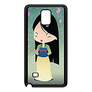 Princesses - Mulan Black Silicon Rubber Case for Galaxy Note 4 by DevilleArt + FREE Crystal Clear Screen Protector