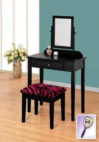 New Black Wooden Make Up Vanity Table with Mirror & Red Zebr