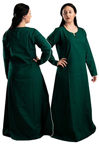 byCalvina Costumes Fraye Viking Medieval Women Dress Made in Turkey,Frst.Grn-2XL