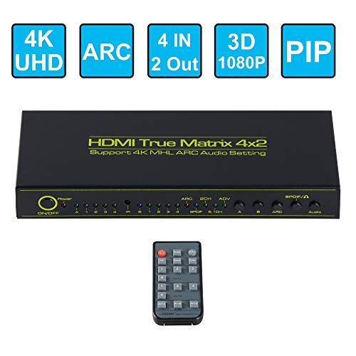 FERRISA 4x2 HDMI Matrix Switcher,Support 4K 3D 1080P with ARC PIP,4 Input 2 Output Matrix HDMI V1.4 Splitter Switch +Optical & L/R Audio Output,HDCP,IR Remote Control