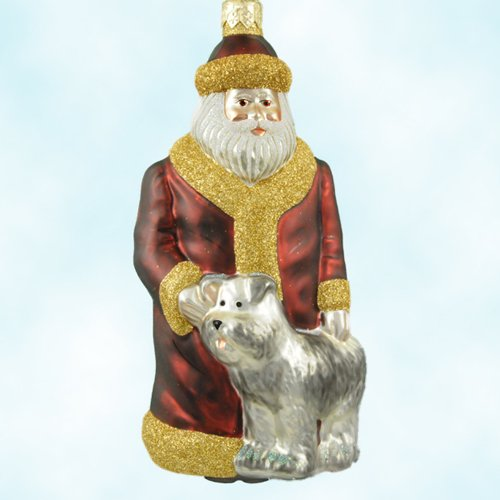 Patricia Breen Christmas Ornaments, Just What I Wanted Bordeaux Santa with Puppy Dog, 1999, 9825, Red robe, pearl dog