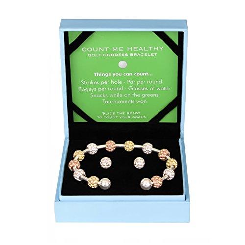 Golf Goddess Stroke/Score Counter Bracelet Gift Set - Tri Color Golf Ball Bead with Silver Golf Ball Earrings
