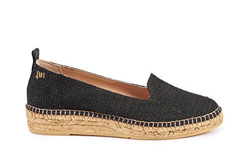 VISCATA Palafrugell Linen Flats, Soft Leather Innersole Cushion, Authentic Espadrilles Hand Made In Spain Blacksheen