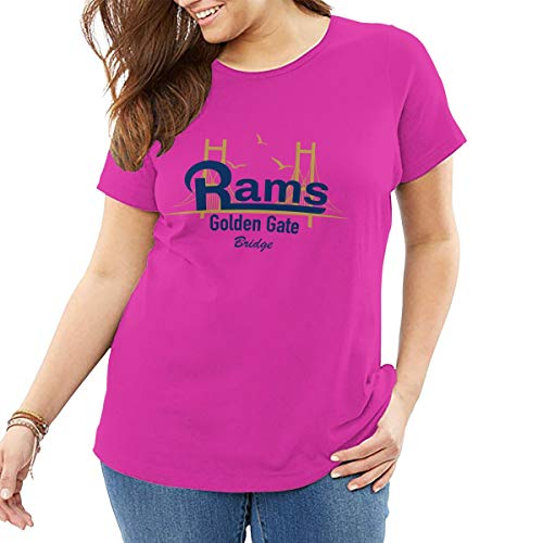 AeosJoy Big Size Women's T-Shirt St Louis Rams Schedule, Printed Ladies Short Sleeves Crewneck Loose Tee from XL to 6XL Fuchusia -