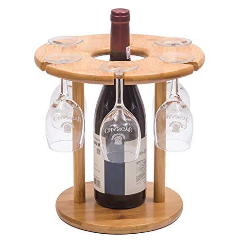 (Riipoo 6 Wine Glasses Drying Rack and 1 Bottle Wine Holder, Nature Bamboo Desktop Wine Glass Storage Hook Stand Organizer Tray (6-glass))