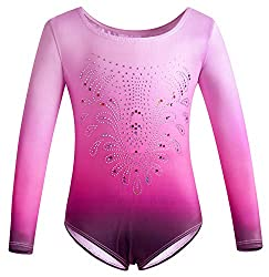 Rose Long Sleeve Gymnastics Leotards With Shiny Diamond