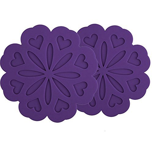 Non Slip Flexible Durable Heat Resistant Dishwasher Safe Kitchen Trivet and Pot Pads Purple Set of 2 COJOY Silicone Pot Holders Trivet Mat Jar Opener Spoon Rest and Kitchen Trivet