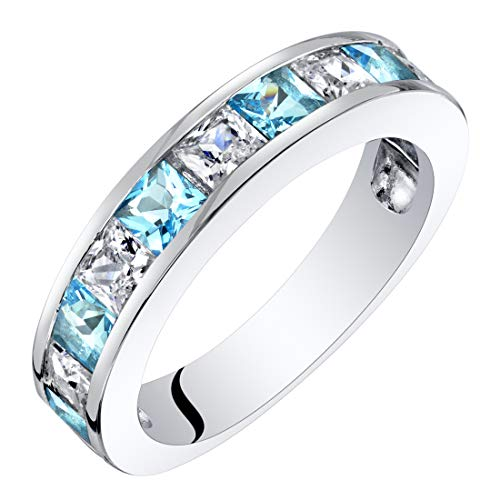 Sterling Silver Princess Cut Swiss Blue Topaz Half Eternity Wedding Ring Band Size 9