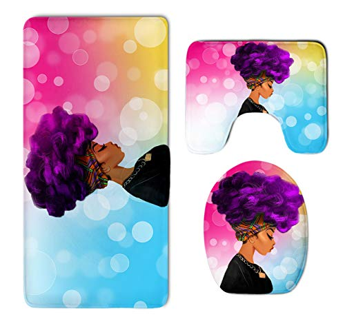 BesArts Afro Sexy Lady African American Black Women Girl With Purple Hair Skidproof Toilet Seat Cover Bath Mat Lid Cover Colorful