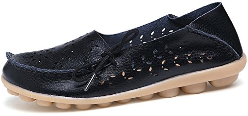 Fangsto Damesschoenen Lederen Slipper Loafers Platte Schoenen Slip-ons Sty-2 Zwart
