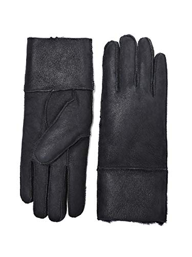 YISEVEN Women's Rugged Sheepskin Shearling Leather Gloves Mittens Sherpa Fur Cuff Thick Wool Lined and Heated Warm for Winter Cold Weather Dress Driving Work Xmas Gifts, Black Small (Mittens Norwegian)