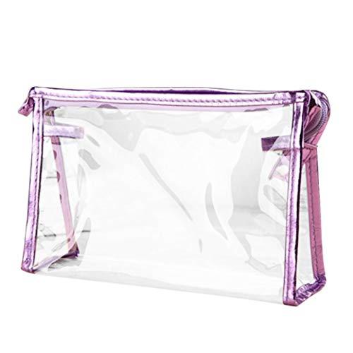 Inverlee 1X Clear Transparent Plastic PVC Travel Cosmetic Make Up Toiletry Bag Zipper (Purple)]()