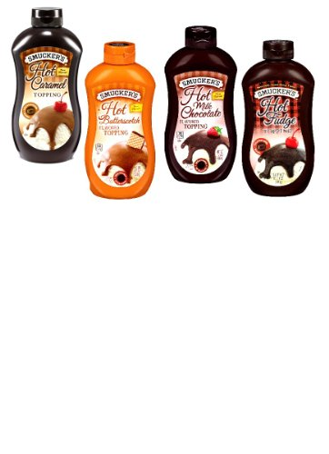 (Smuckers Heat & Pour Ice Cream Toppings VARIETY PACK: 1 Squeeze Bottle of HOT FUDGE TOPPING, 1 HOT CARAMEL TOPPING, 1 HOT BUTTERSCOTCH TOPPING & 1 HOT MILK CHOCOLATE TOPPING. Microwaveable. 15 oz. (4 PACK))